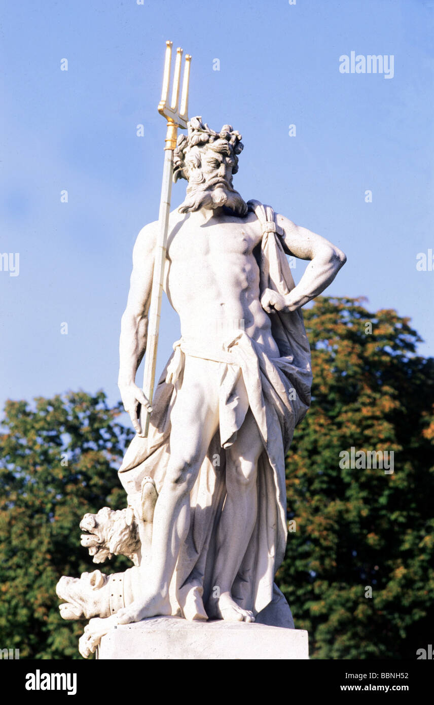 Poseidon, Greek god of the sea, full length, statue in park of Nymphenburg Castle, Munich, Additional-Rights-Clearances - Stock Image