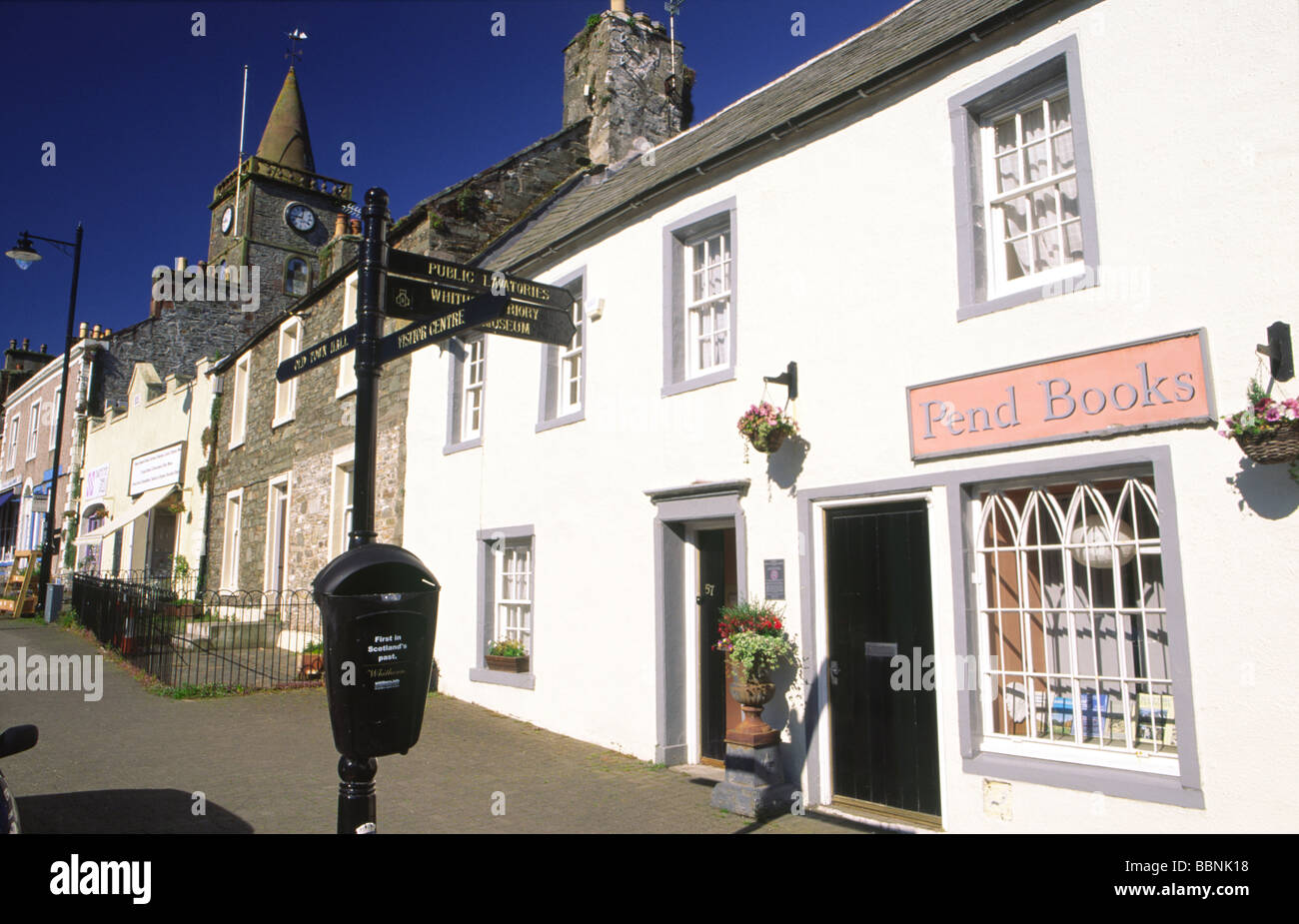 Secondhand book shop on George Street in the picturesque town centre of Whithorn in the Machars of Galloway Scotland - Stock Image
