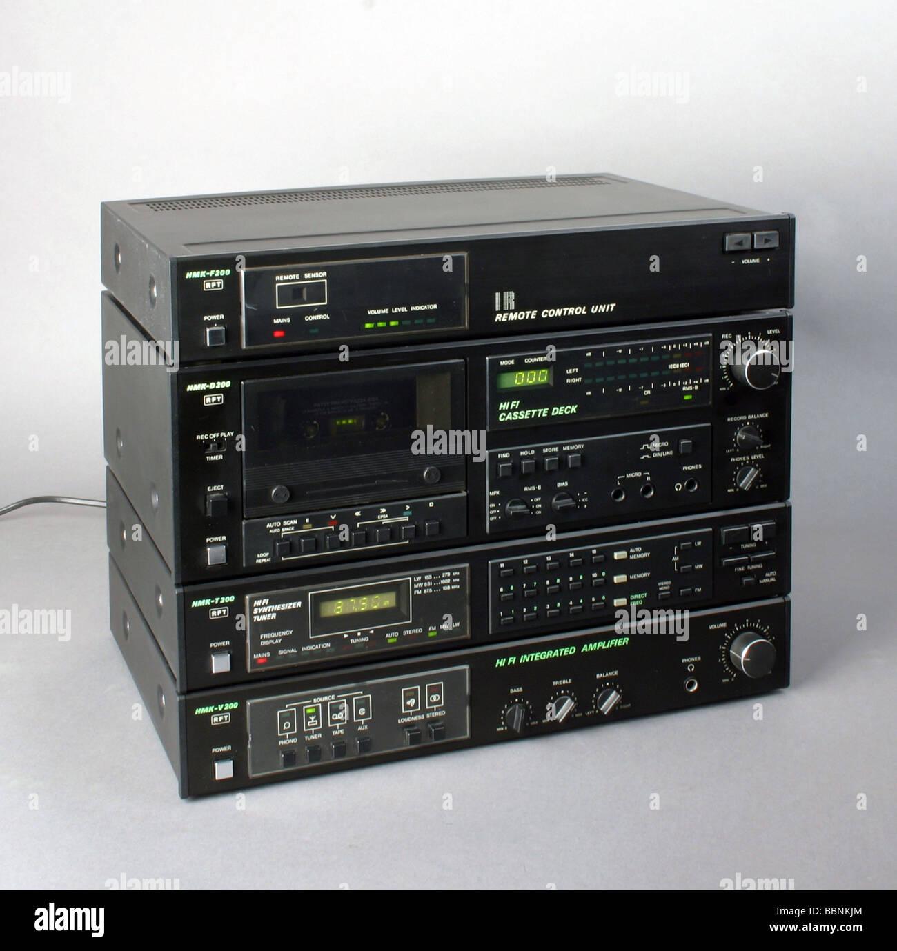 technics, hi-fi, HiFi compenent set HMK 200 with remote control, made by Stern-Radio Berlin, GDR, 1989/1990, historic, - Stock Image