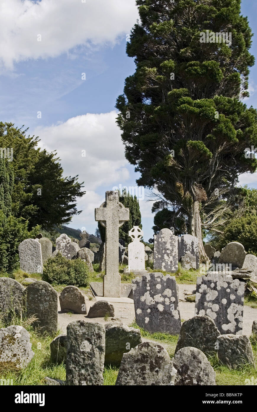 geography / travel, Ireland, Glenalough, churches / monasteries, built: 6. Jh., graveyard, Additional-Rights-Clearance - Stock Image