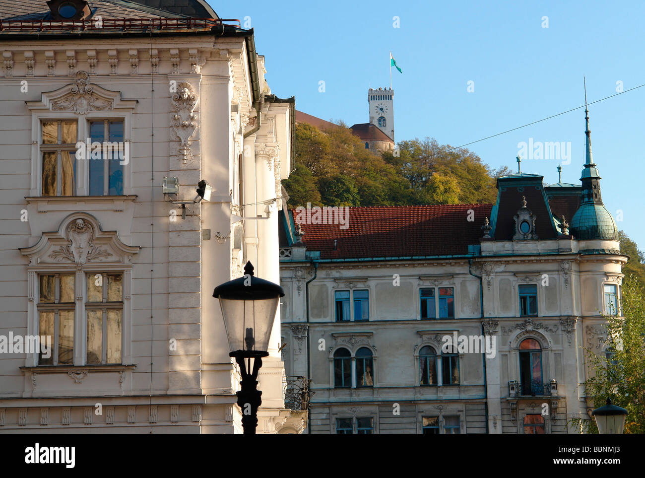 geography / travel, Slovenia, Ljubljana, Aristocratic old buildings from the k.+K. era in the city centre with the - Stock Image