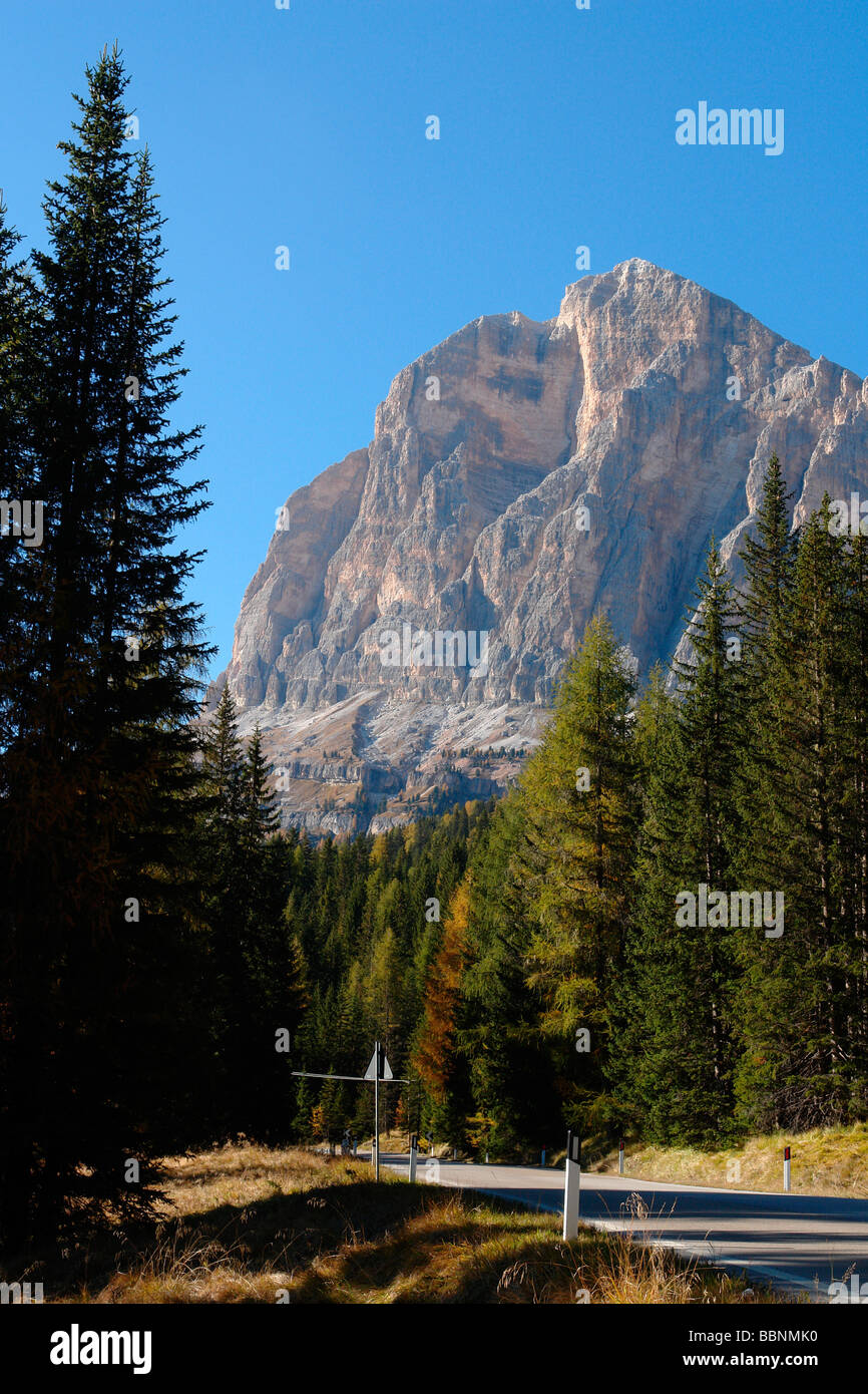 geography / travel, Italy, Trentino - Alto Adige, Arabba: Landscape with part of the Sella Massif, Additional-Rights - Stock Image