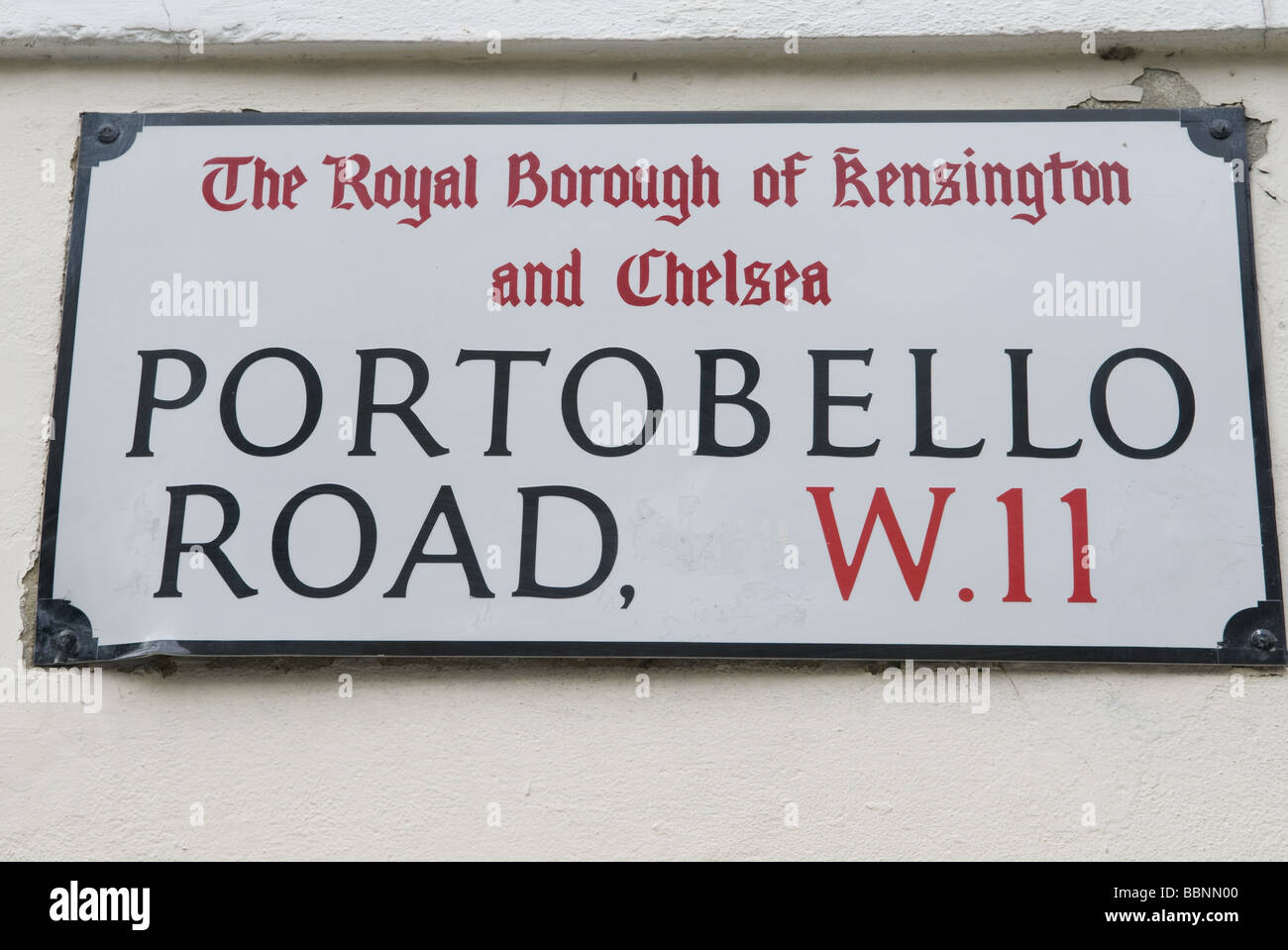 geography / travel, Great Britain, London, Notting Hill, Portobello Road, street name sign, Additional-Rights-Clearance - Stock Image