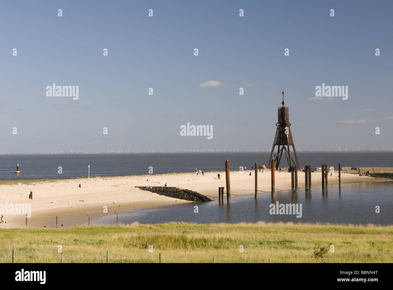 geography / travel, Germany, Lower Saxony, Cuxhaven, Döse, North Sea coast, Döse, health resort, Kugelbake, - Stock Image