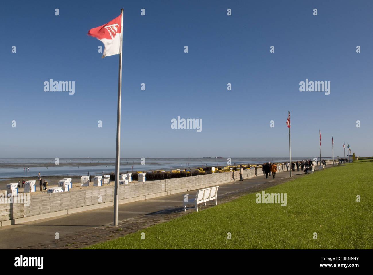 geography / travel, Germany, Lower Saxony, Cuxhaven, Duhnen, health resort, beach promenade, Additional-Rights-Clearance - Stock Image