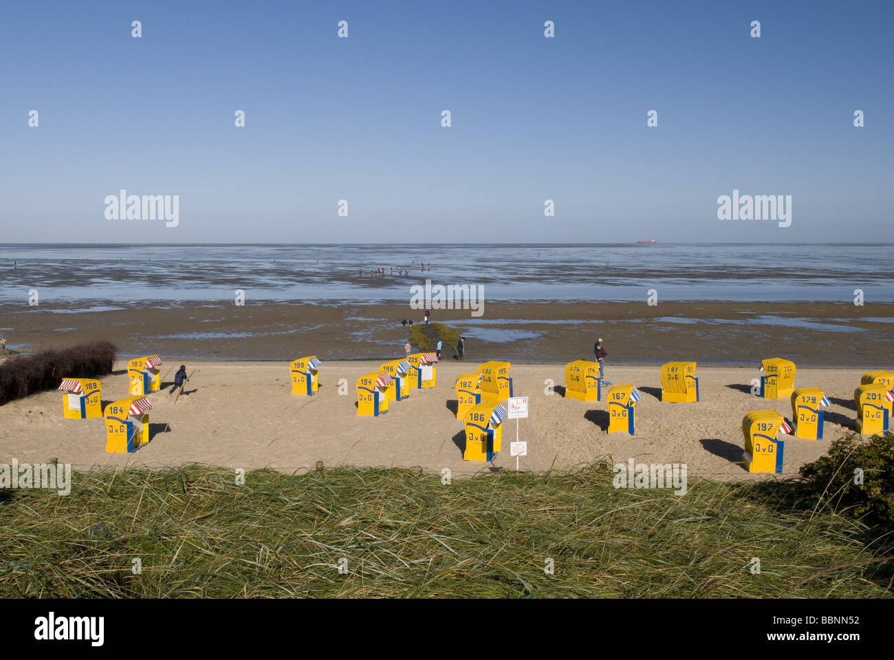geography / travel, Germany, Lower Saxony, Cuxhaven, Duhnen, health resort, beach, beachchairs, Additional-Rights - Stock Image