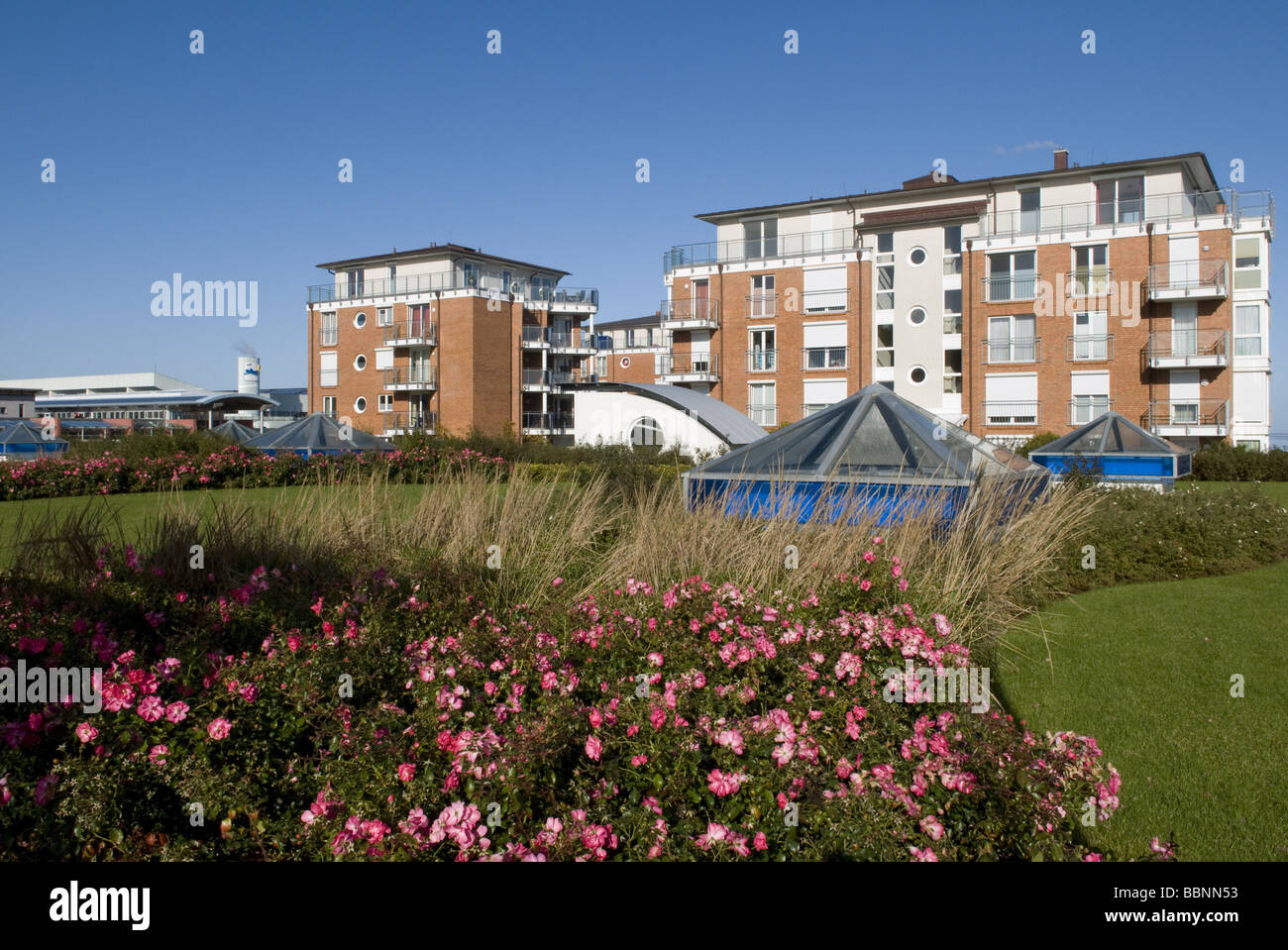 geography / travel, Germany, Lower Saxony, Cuxhaven, Duhnen, apartement houses, Additional-Rights-Clearance-Info - Stock Image