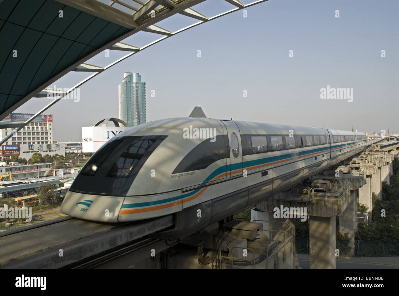 geography / travel, China, Shanghai, high-speed monorail train driving into station, Additional-Rights-Clearance - Stock Image