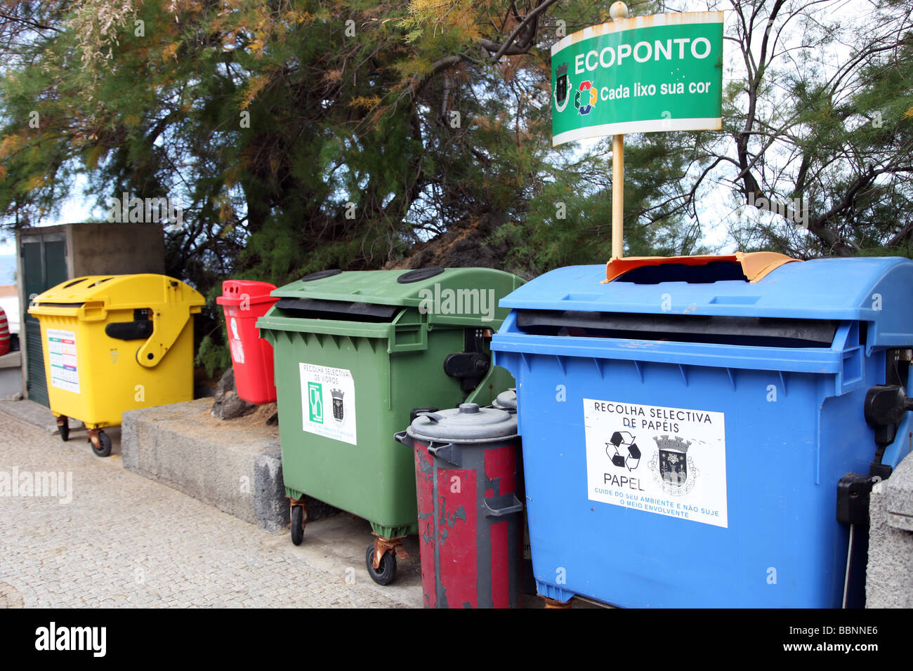 Recycling bins at Porto Moniz Madeira Stock Photo