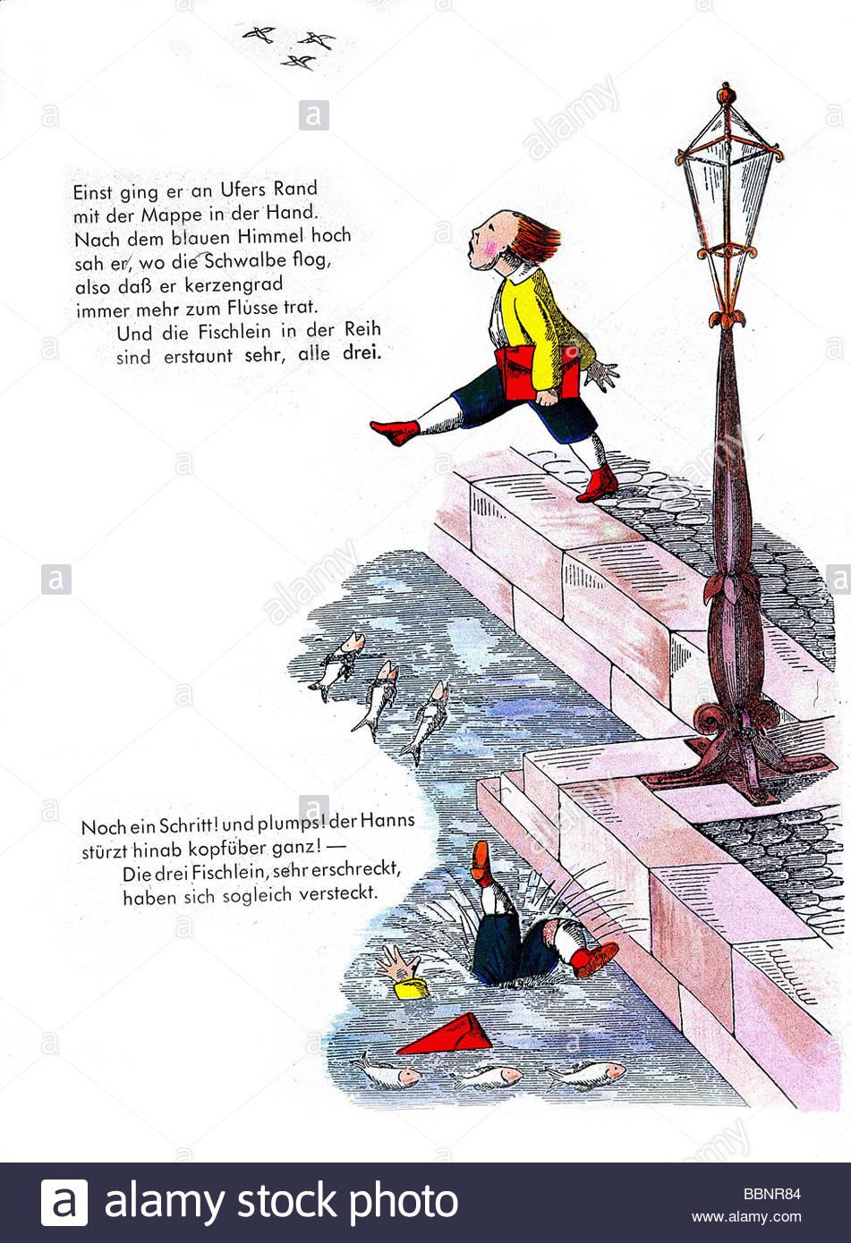 literature, 'Der Struwwelpeter', 'Die Geschichte vom Hans Guck-in-die-Luft' (The Story of Hans Look - Stock Image