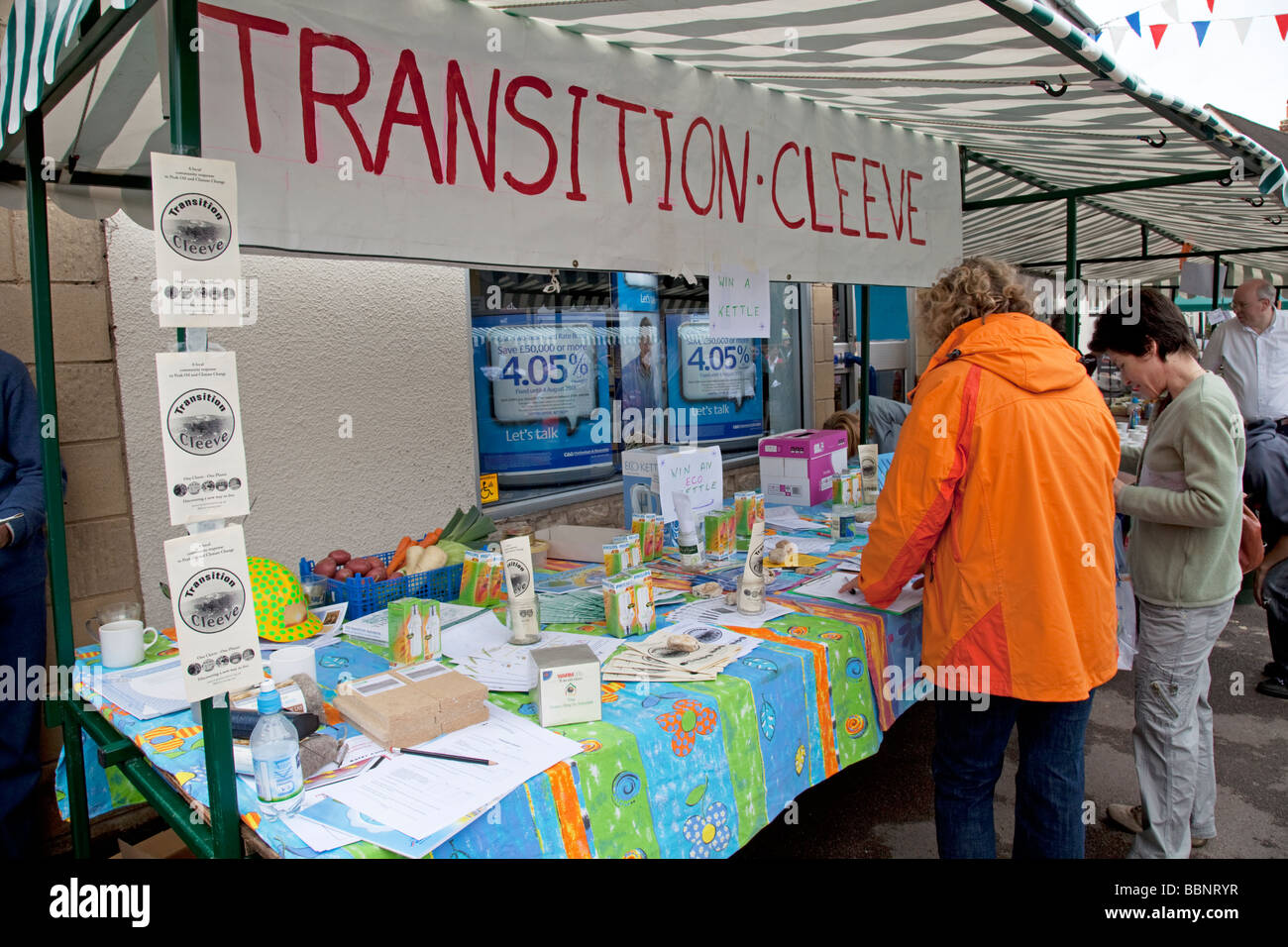 Transition Cleeve stall at Street Fair Bishops Cleeve June 2009 UK - Stock Image