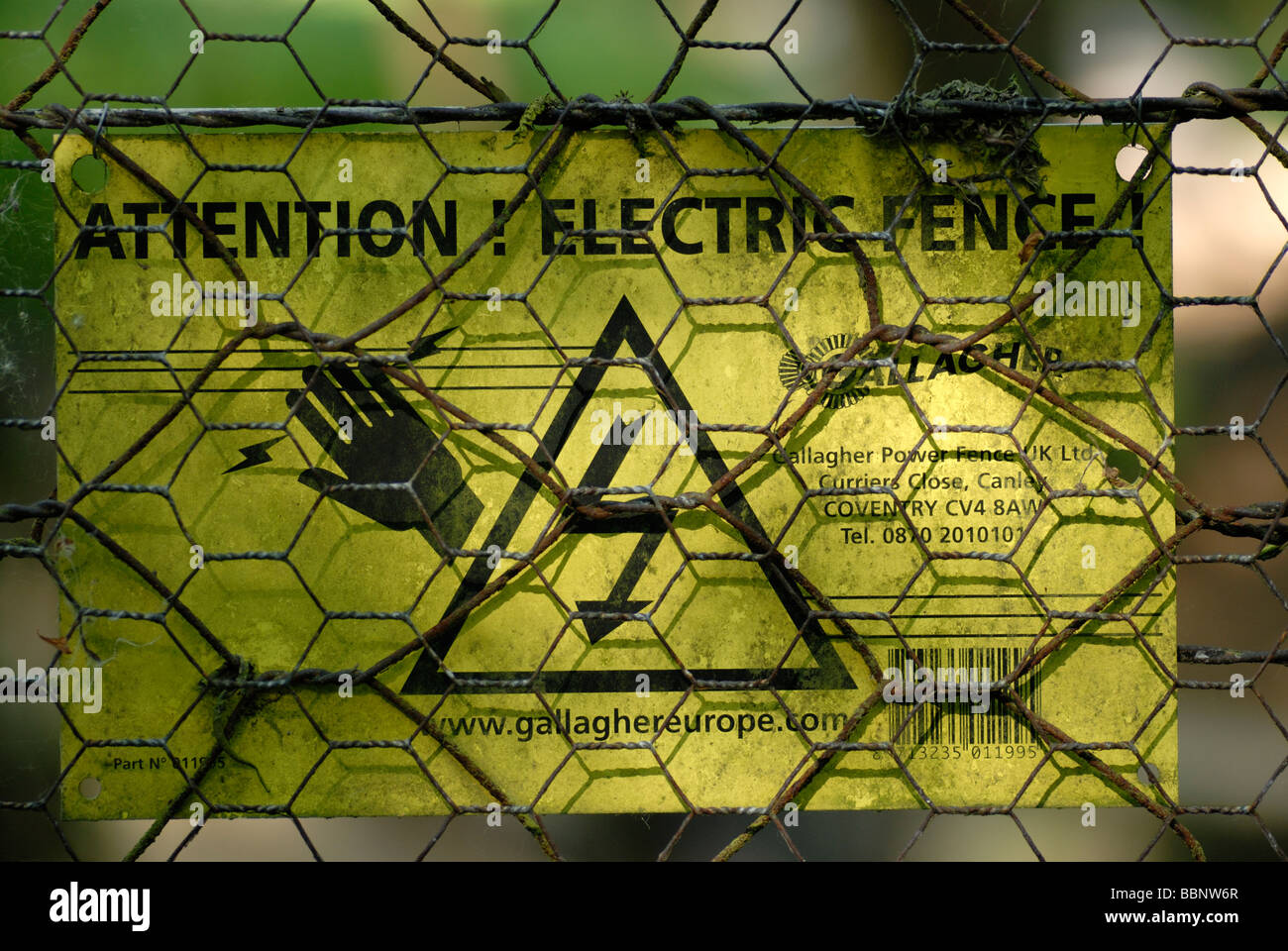 Electric Fence Sign - Stock Image