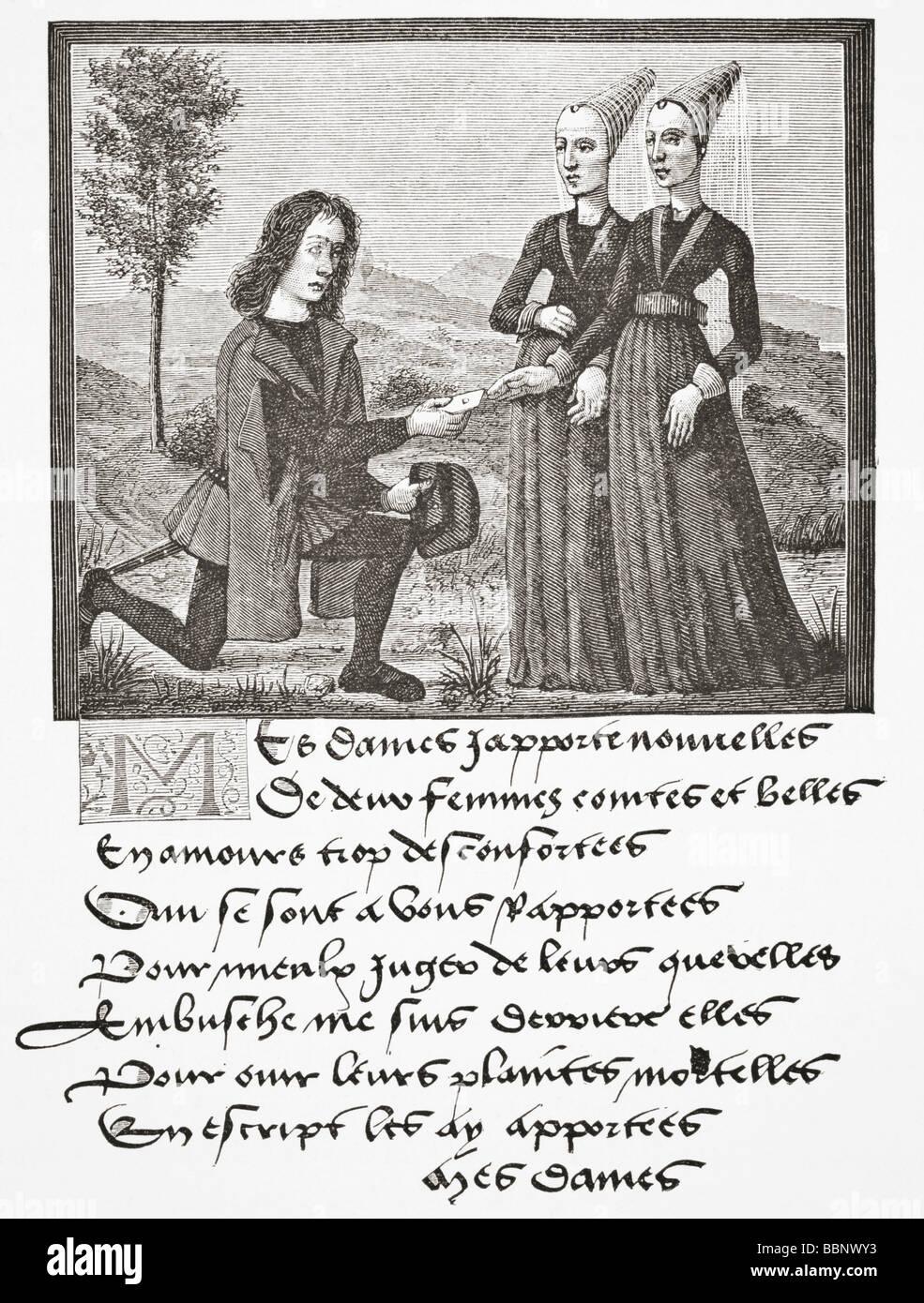 Alain Chartier,  author of the poem Le Debat de la noire et de la tannee gives a poem to a lady - Stock Image