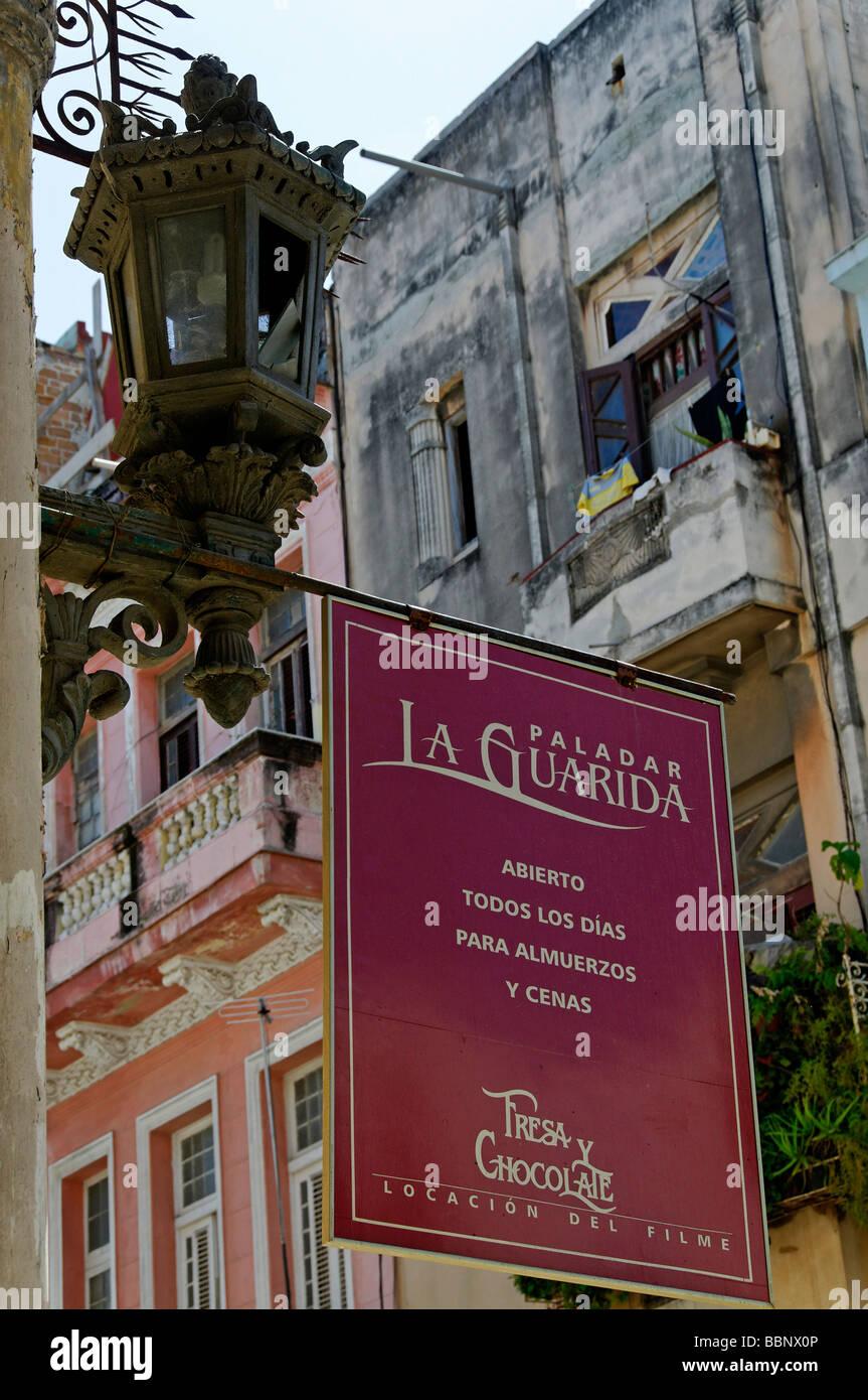 Paladar La Guarida sign, Havana, Cuba - Stock Image