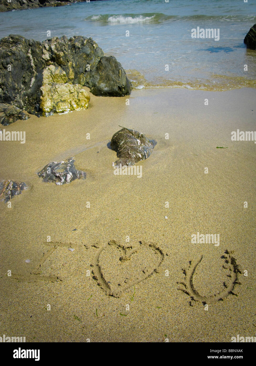 I love You written in the sand on beach - Stock Image