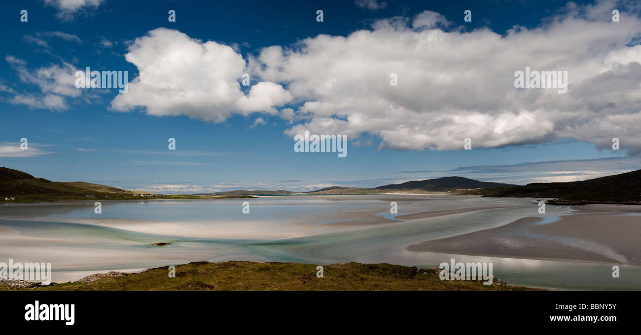 Luskentyre beach, Isle of Harris, Outer Hebrides, Scotland, Panoramic Stock Photo