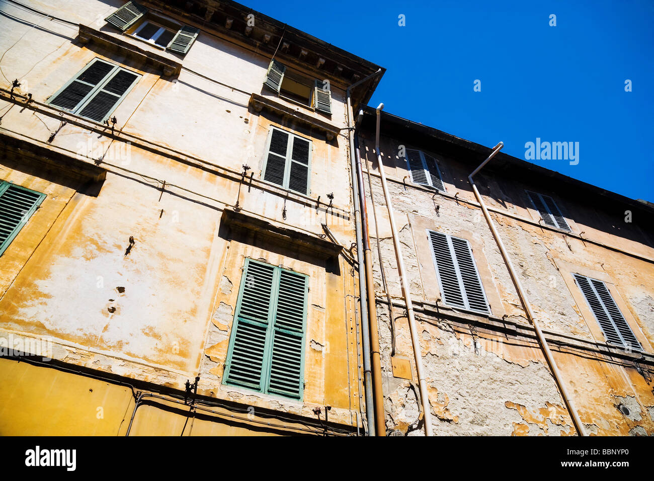 Traditional Italian old houses Wide angle view - Stock Image