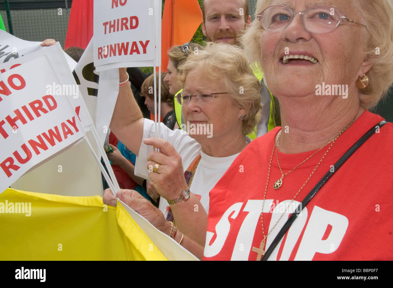 Heathrow - No Third Runway protest march, 31 May 2008. Local residents - Stock Image