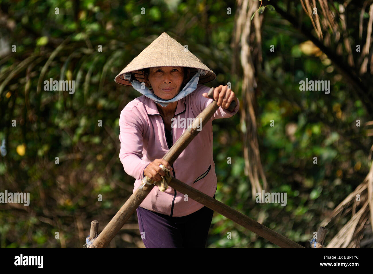 Woman with a traditional hat, cone-shaped hat made of palm leaves, rowing a wooden boat full of fruit on the mekong, - Stock Image