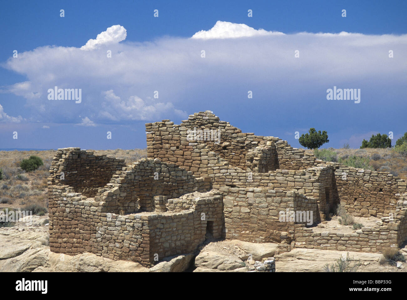 Anasazi ruins at Cajon site in Hovenweep National Monument Utah USA - Stock Image