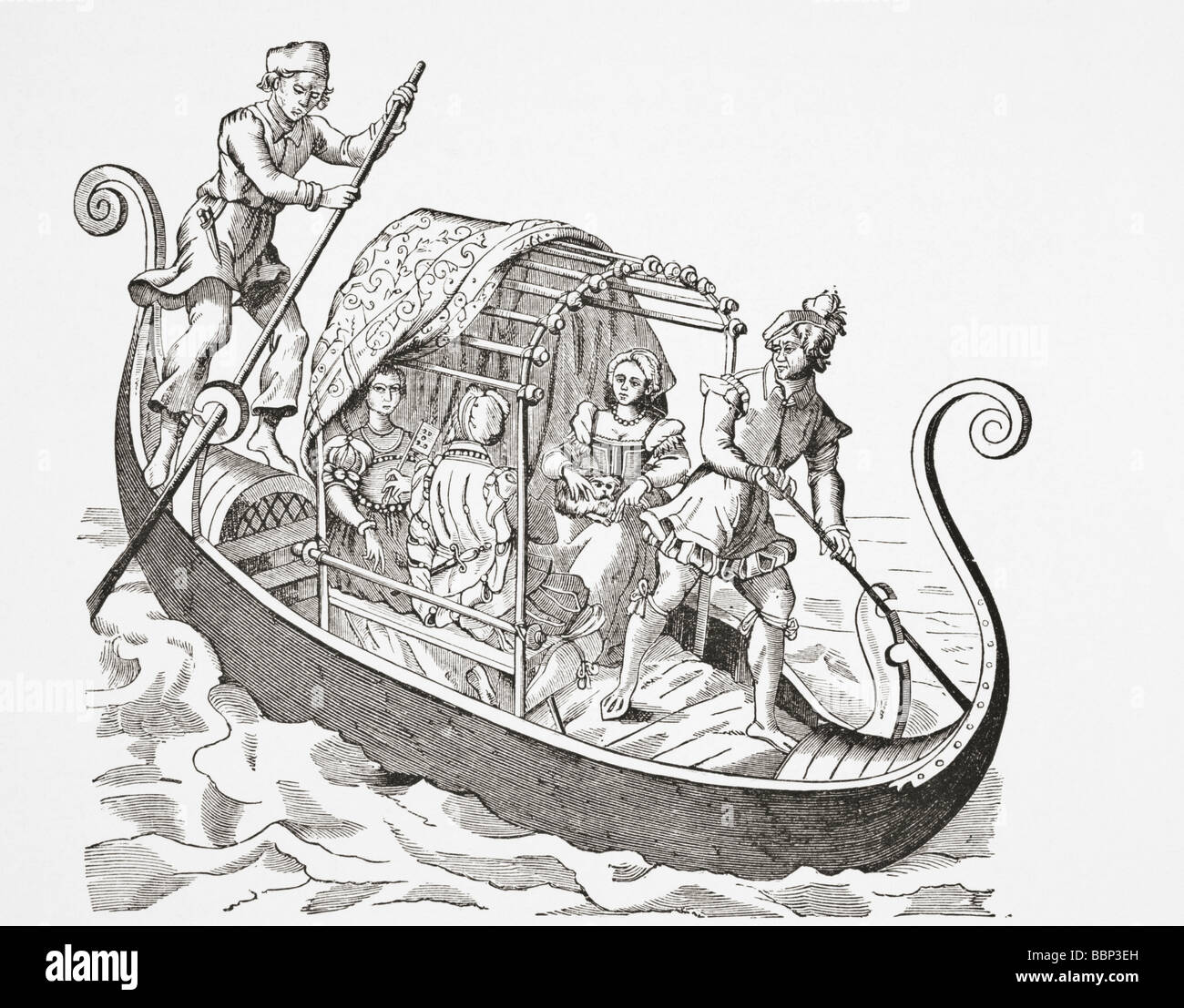 Venetian Gondola. From the Grand Procession of the Doge of Venice attributed to Jost Amman and  published Frankfurt - Stock Image
