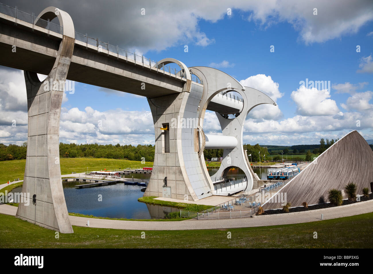 View of the British Waterways Falkirk Wheel on the Union Canal near Falkirk Scotland - Stock Image