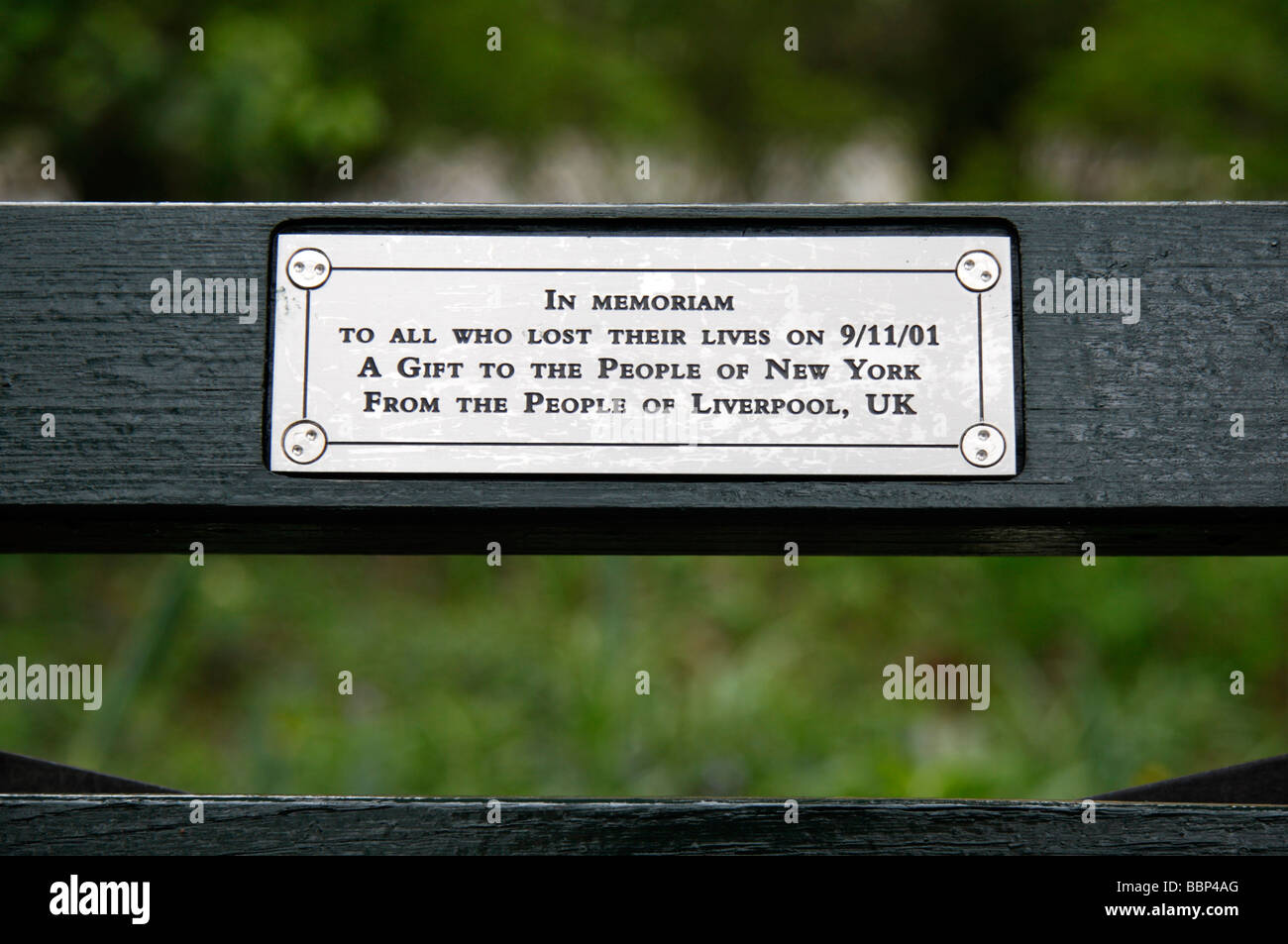 The Plaque On A 9 11 Memorial Bench Close To The Imagine
