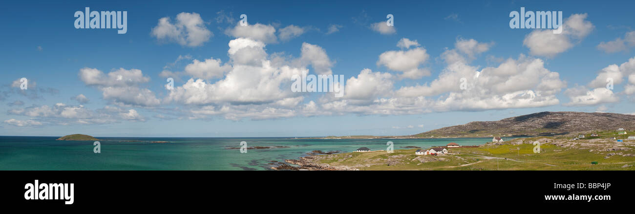 Panoramic vista of Lingeigh island off Eriskay, South Uist, Outer Hebrides, Scotland - Stock Image