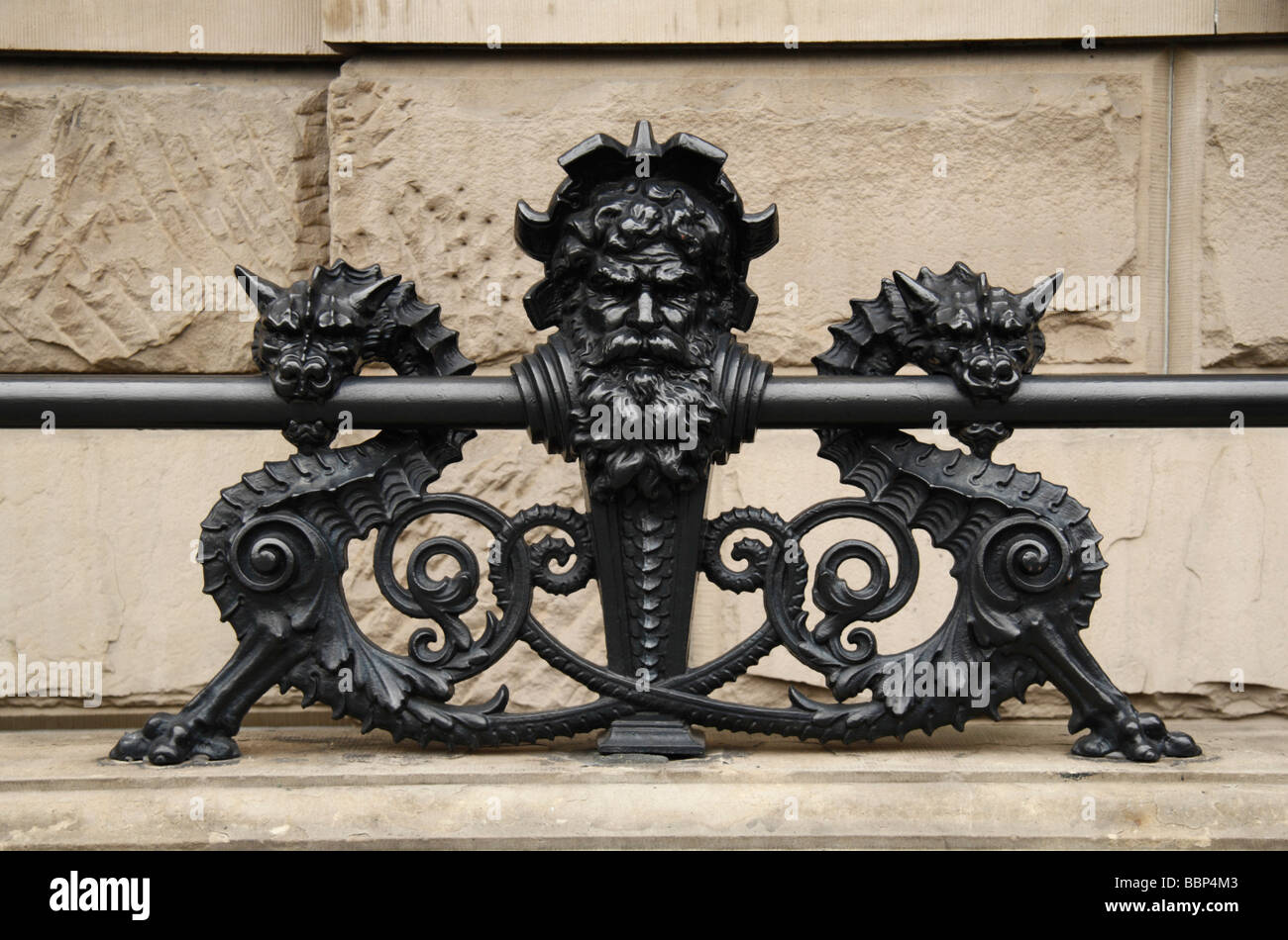 Close up of a railing feature on the Dakota Building on West 72nd St Central Park West, New York. Stock Photo