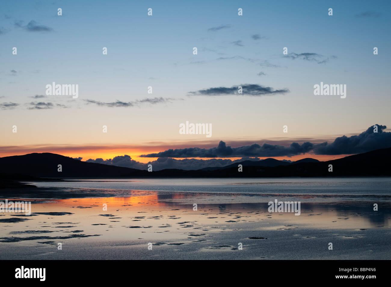 Sunset over Luskentyre estuary and Taransay, Isle of Harris, Outer Hebrides, Scotland, - Stock Image