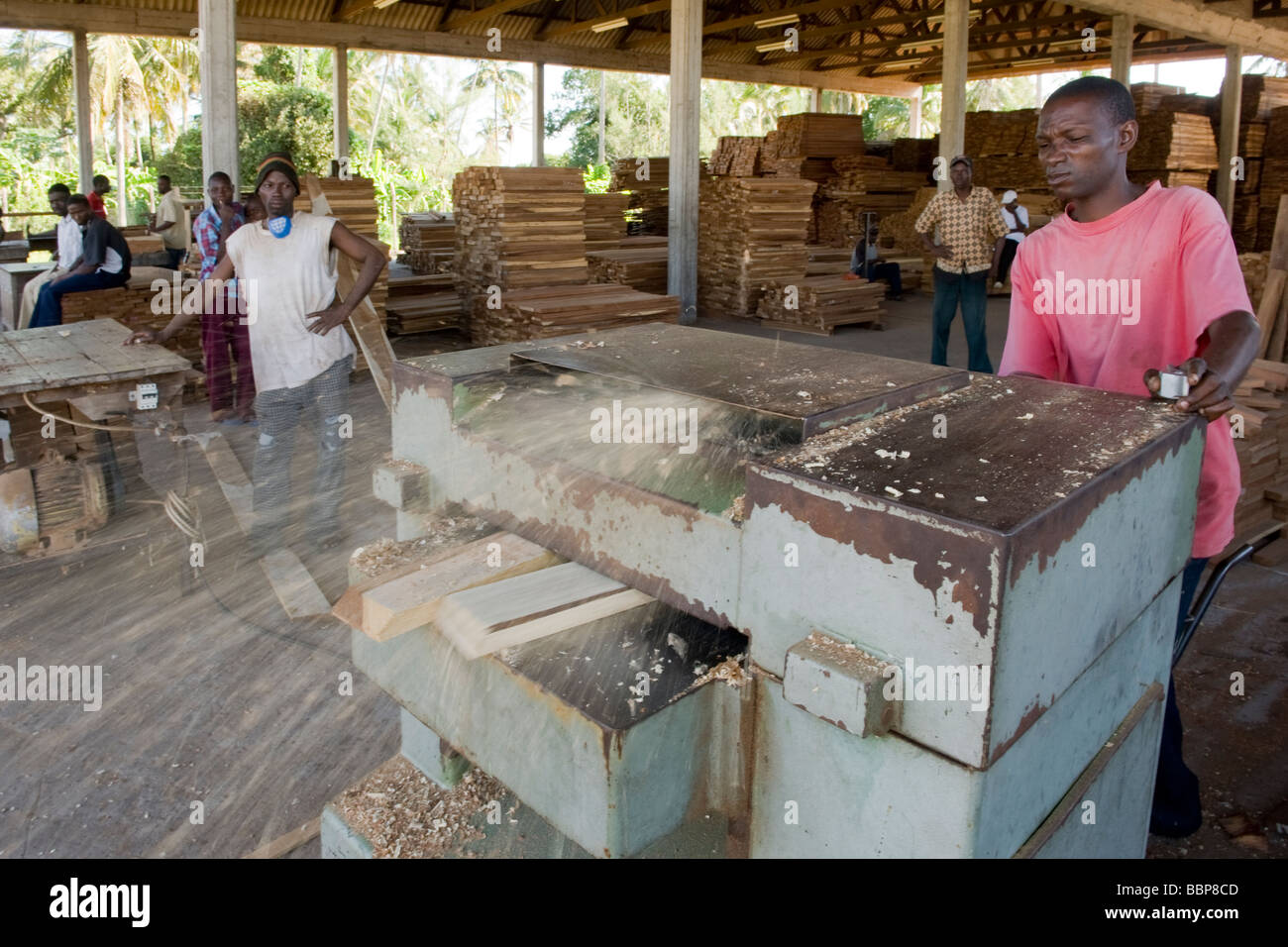 Worker planing hardwood for export in a sawmill Ouelimane Mozambique - Stock Image