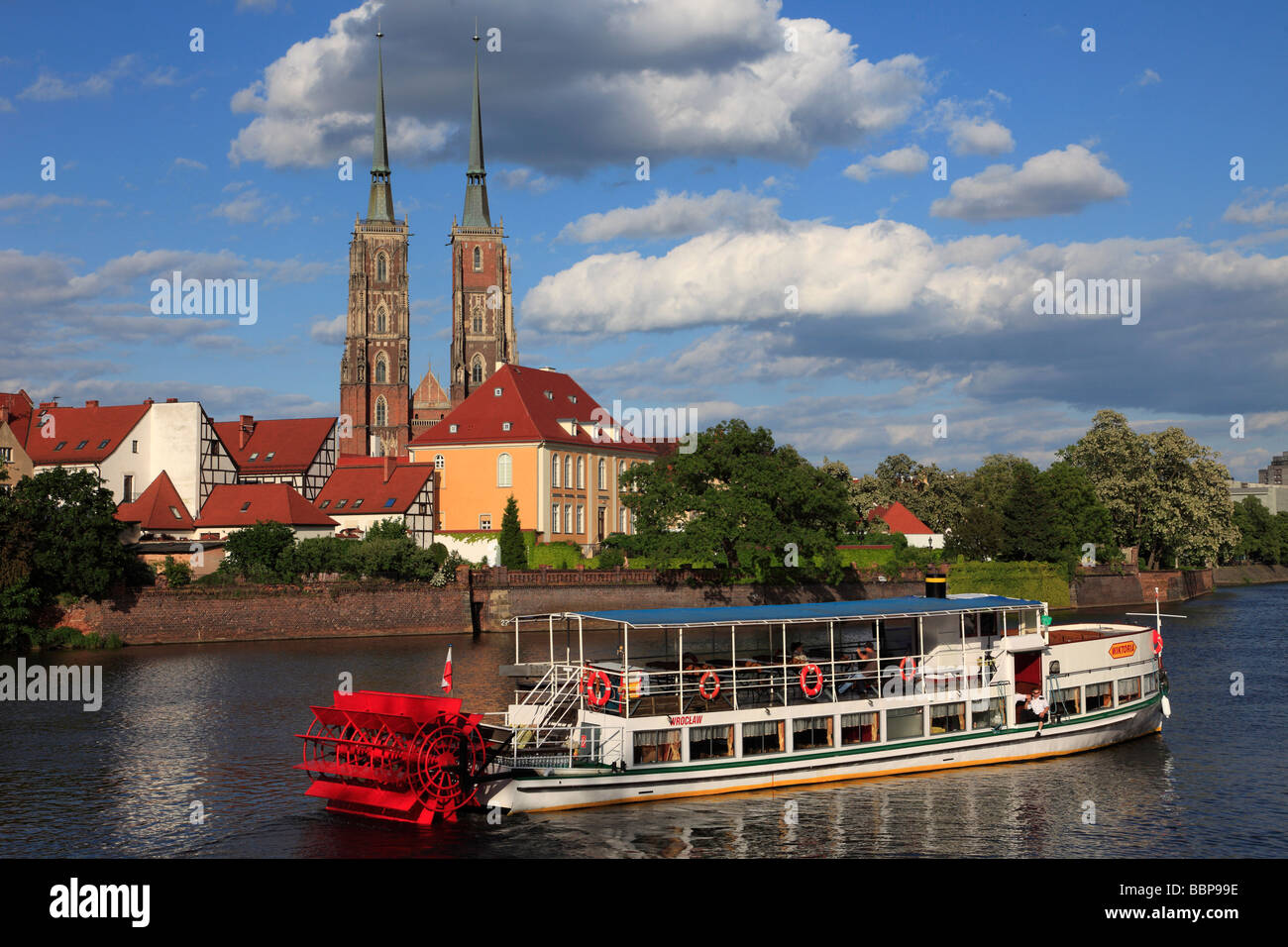 Poland Wroclaw Cathedral Island Odra River sightseeing boat - Stock Image