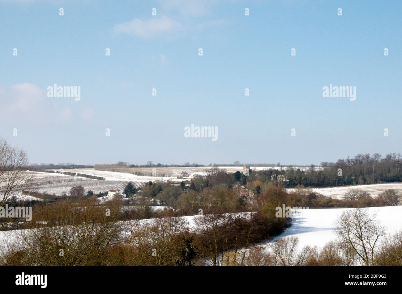 A view of the Kent countryside in winter Stock Photo