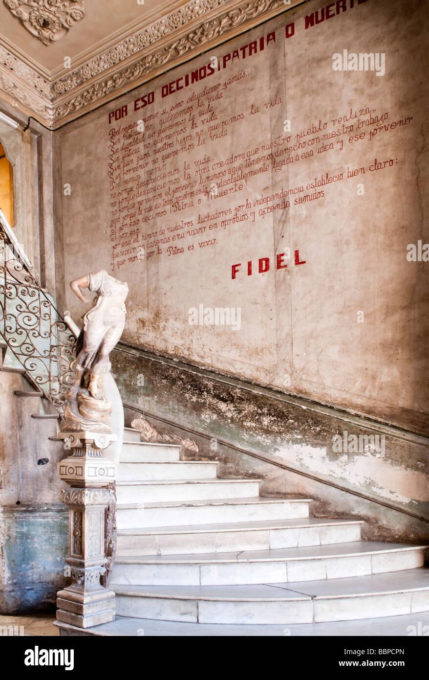 Staircase in the old building  - entrance to La Guarida restaurant, Havana, Cuba, Caribbean - Stock Image