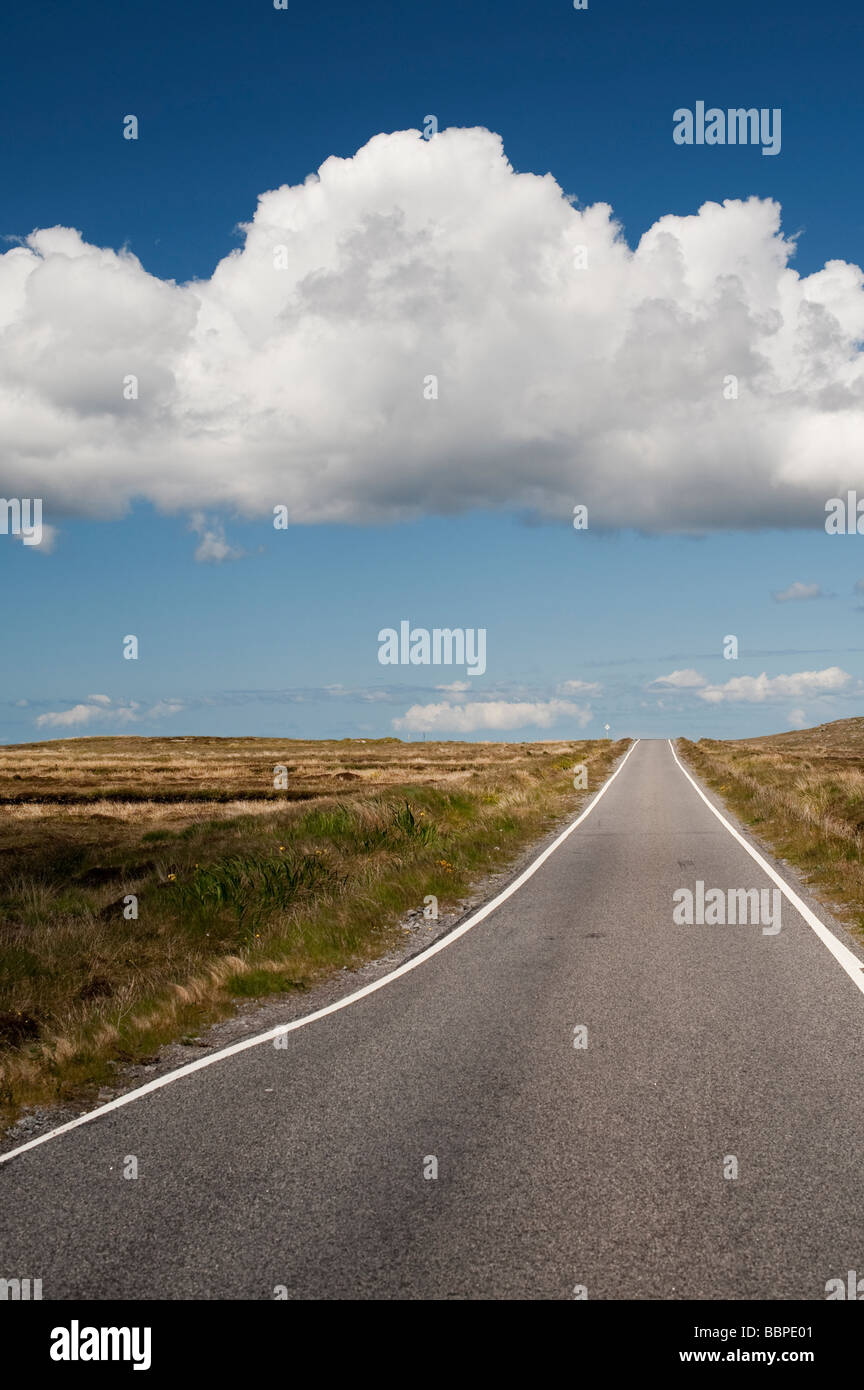 Barren straight road, Uist, Outer Hebrides, scotland - Stock Image