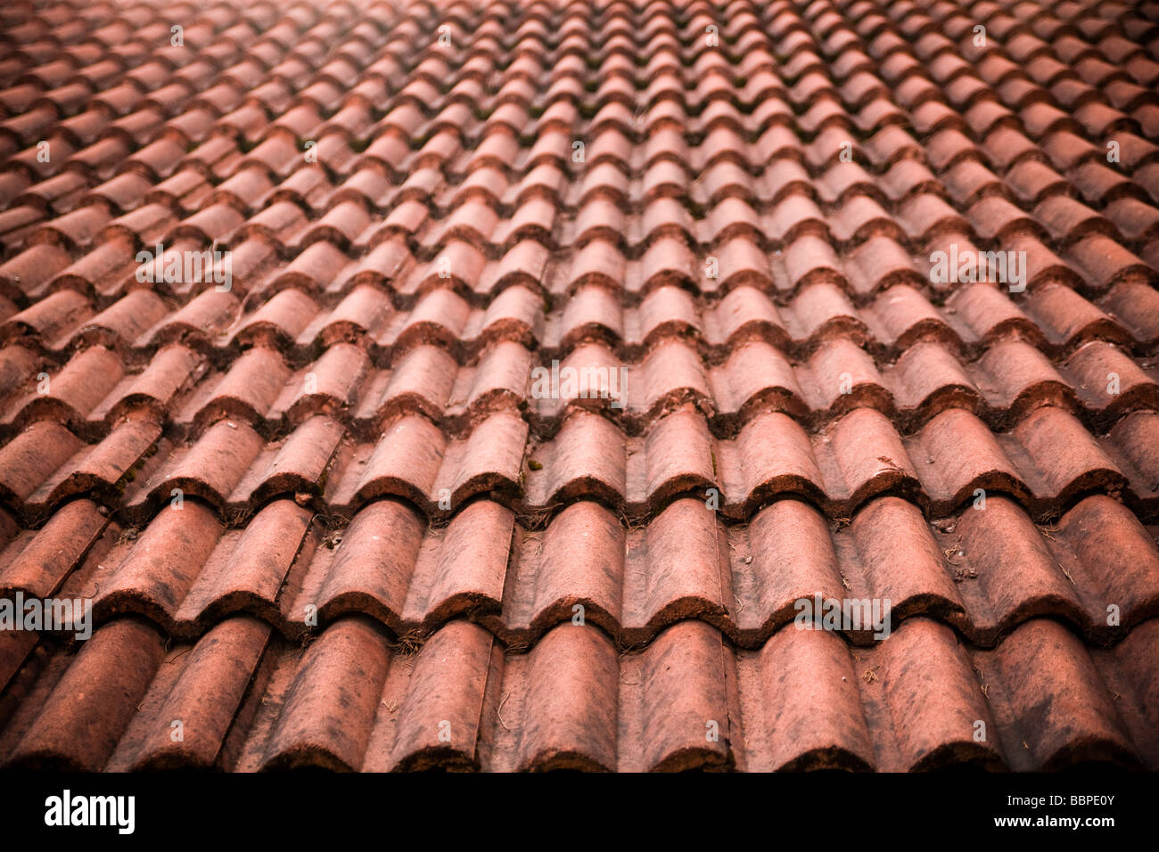 Detail of brick tile roof - Stock Image