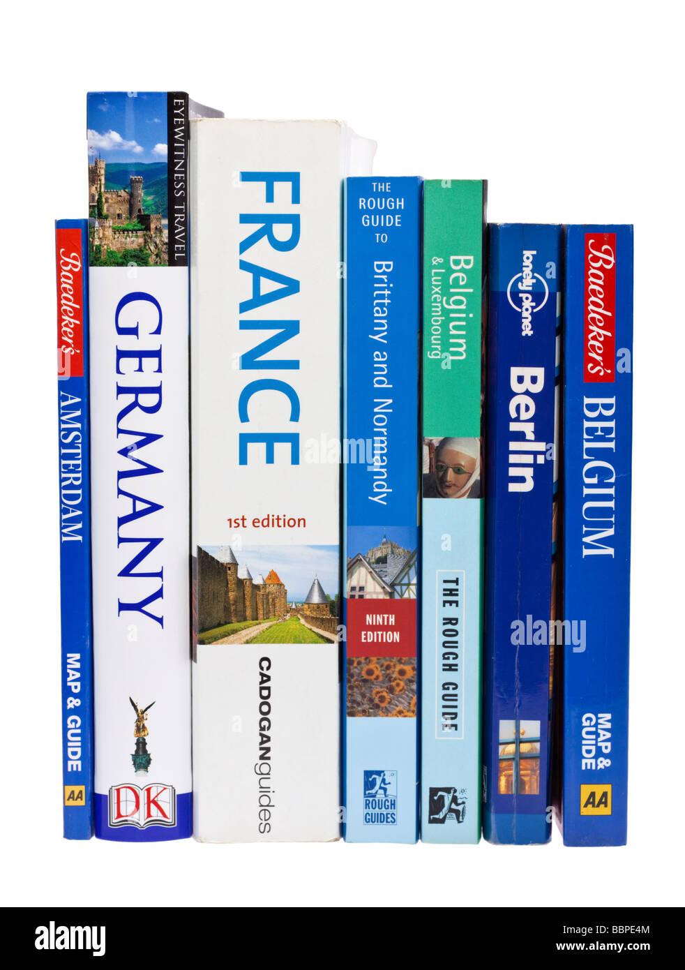 European travel guide books on white Stock Photo