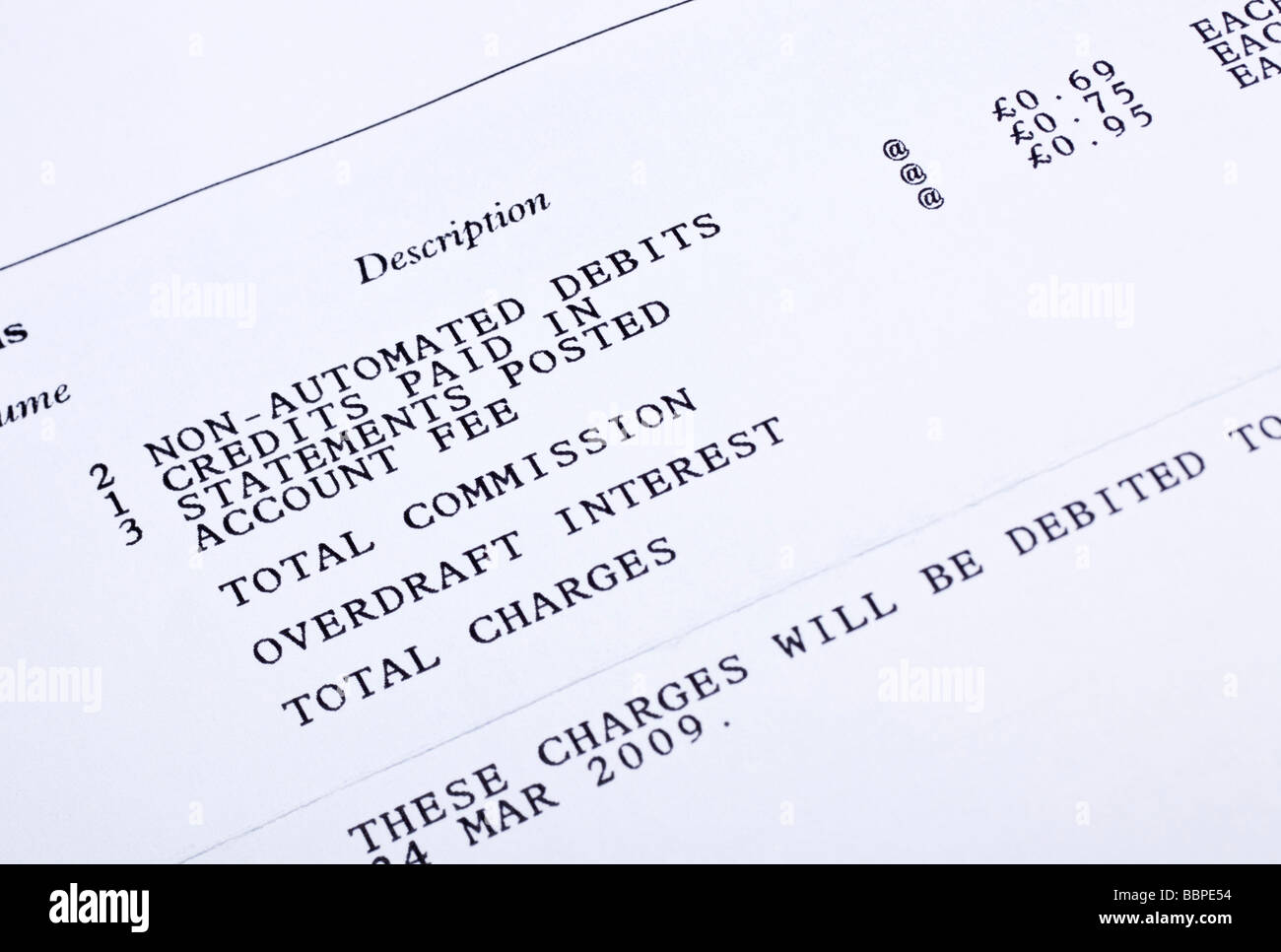 Close up of bank account charges on a bank statement Stock Photo