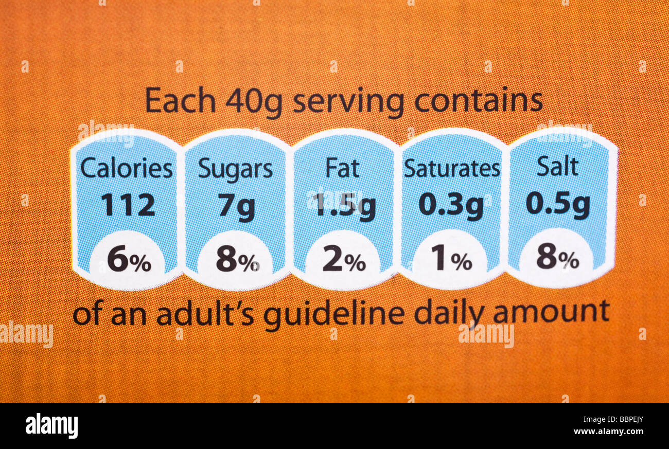 Food label showing nutrition information UK - Stock Image