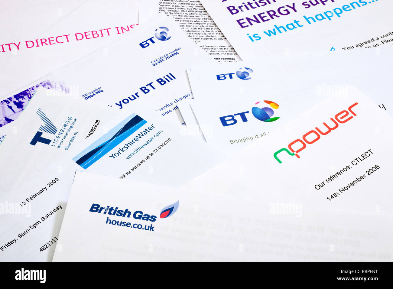 Group of domestic paper household heating energy and utility bills UK - Stock Image