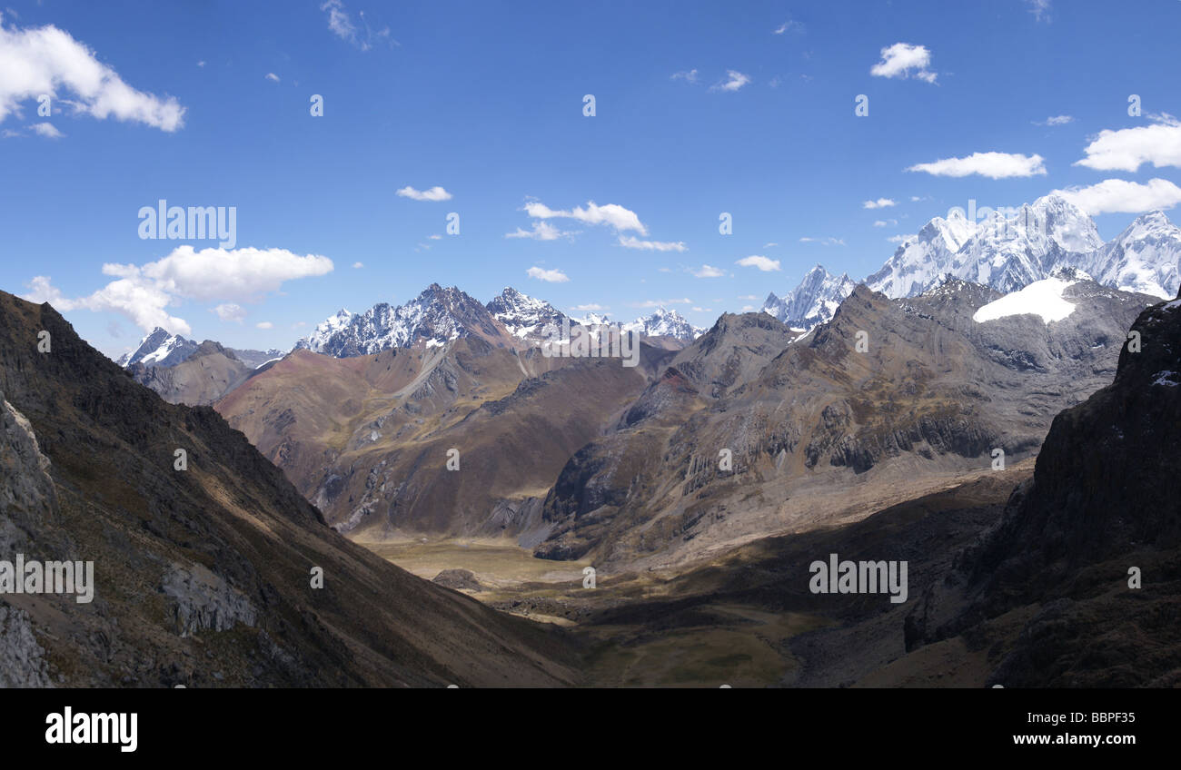 High mountain peaks and glacial valley Cordillera Huayhuash Andes Peru South America - Stock Image