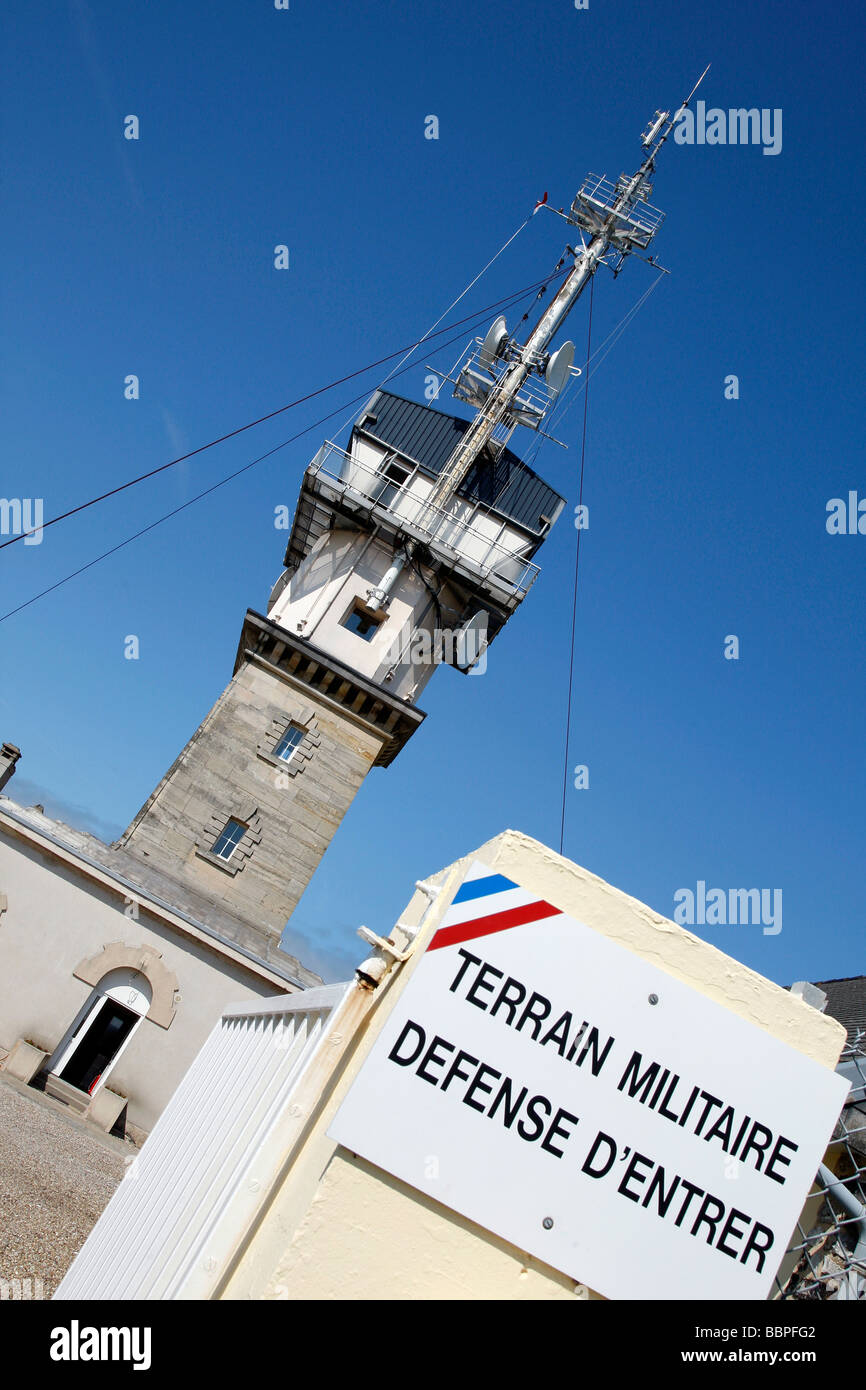 MILITARY LAND 'KEEP OUT', THE ARMY'S LIGHTHOUSE ON THE HEIGHTS OF FECAMP, SEINE-MARITIME (76), NORMANDY, - Stock Image