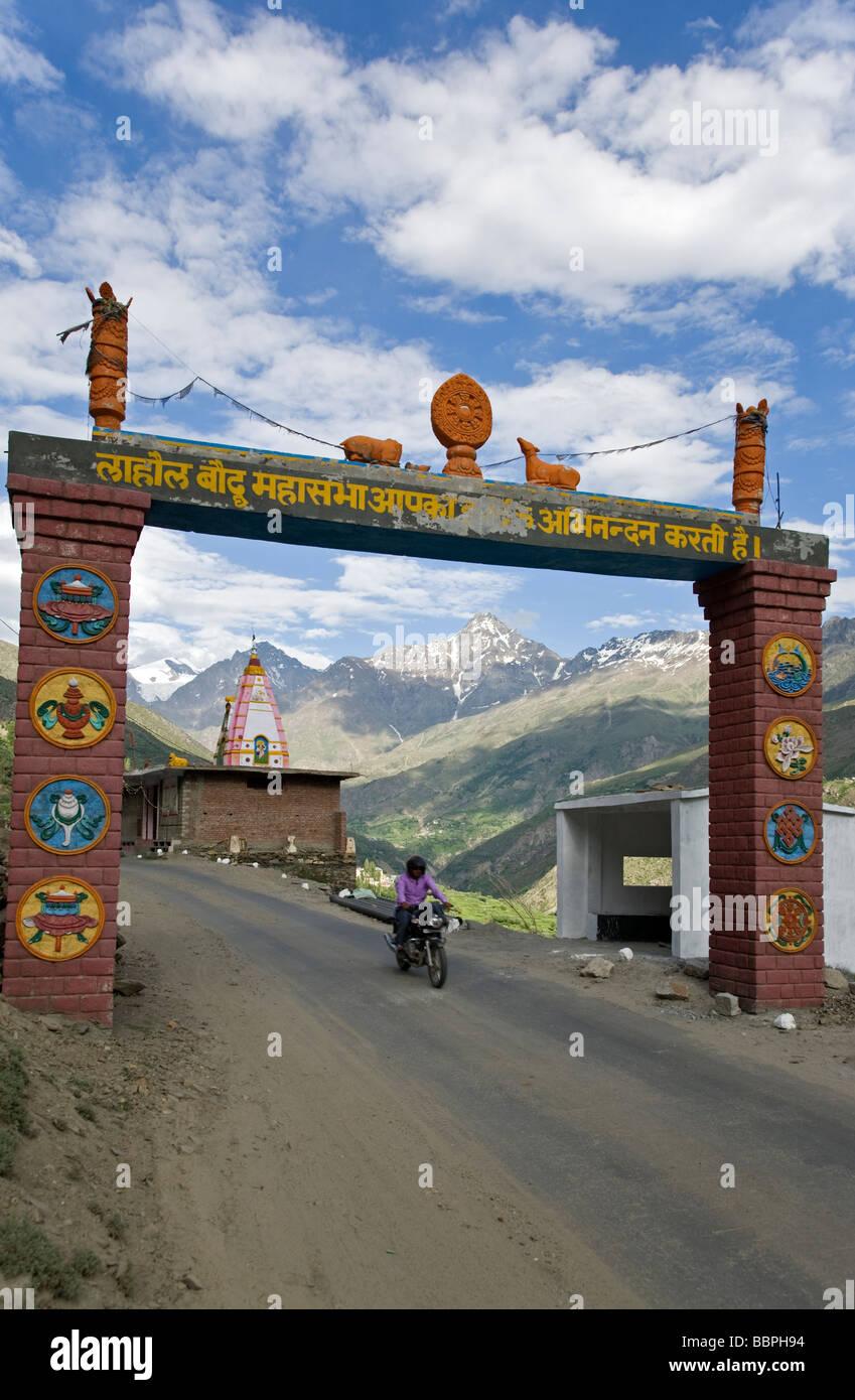 Main entrance to Keylong. Himachal Pradesh. India - Stock Image