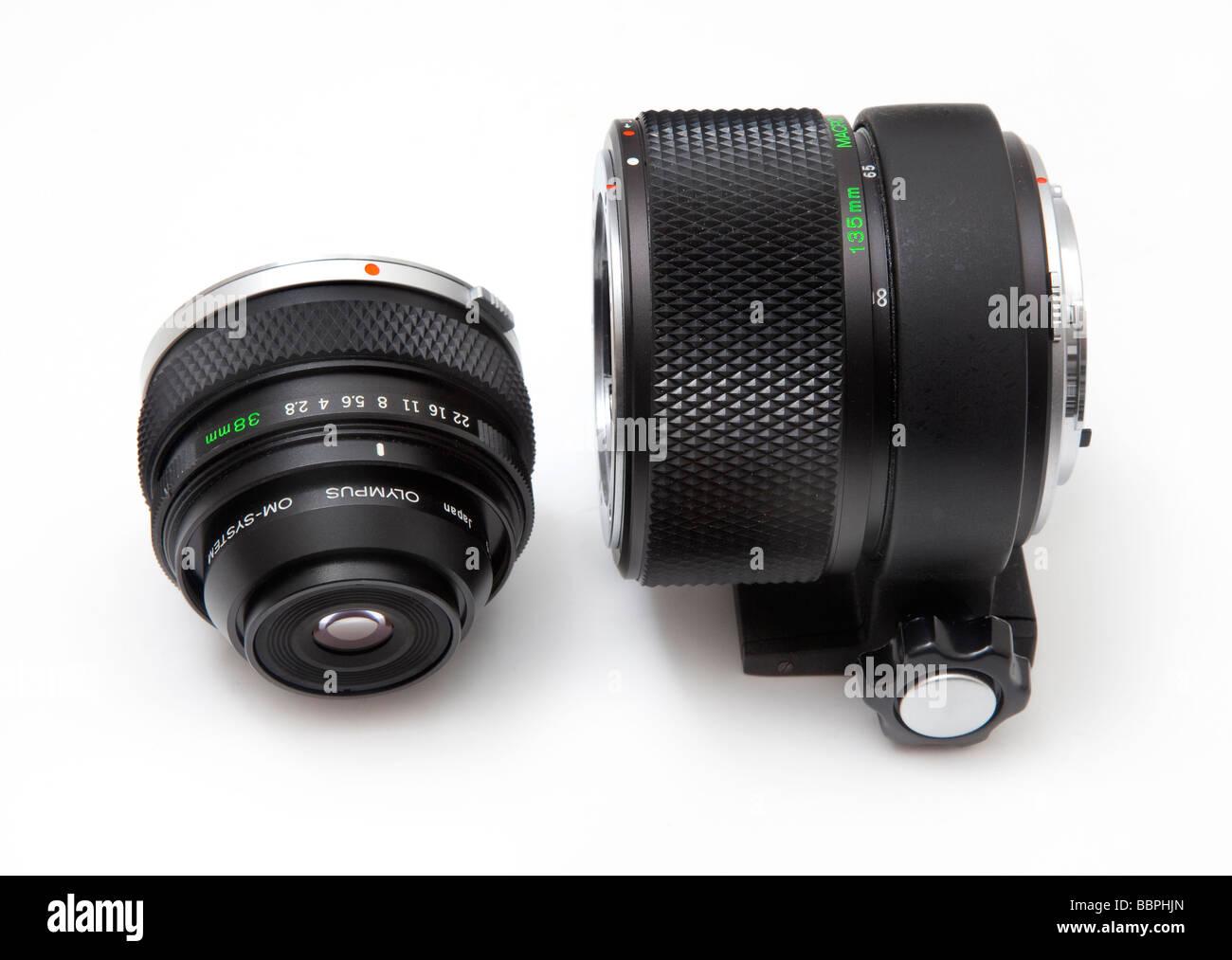 Olympus OM SLR macro camera equipment used for close up photography, 38mm macro lens,  vari extension tube - Stock Image
