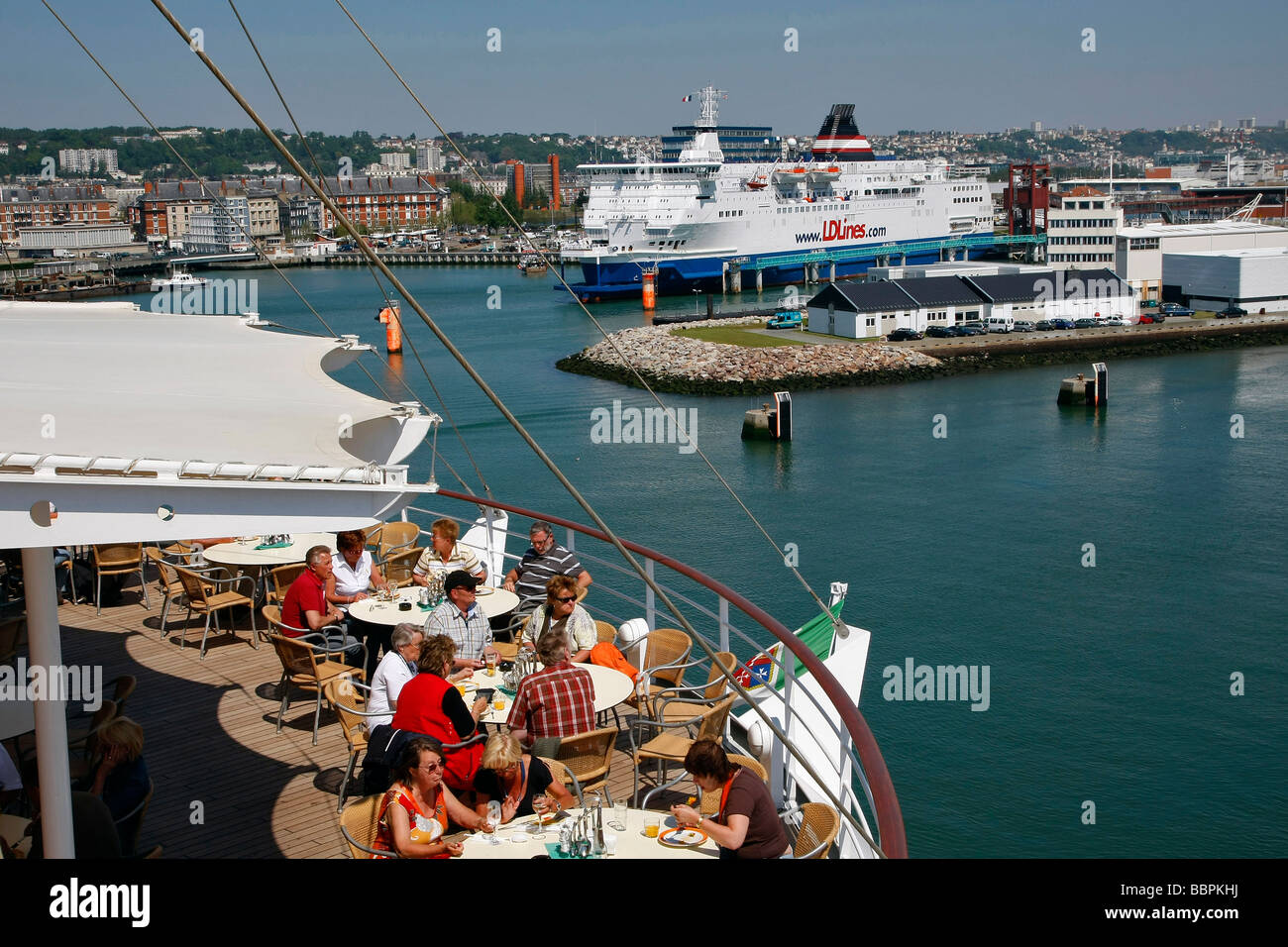TERRACE ON THE TOP BRIDGE OF THE CRUISE BOAT AIDA ON STOPOVER IN THE PORT OF LE HAVRE, SEINE-MARITIME (76), NORMANDY, - Stock Image