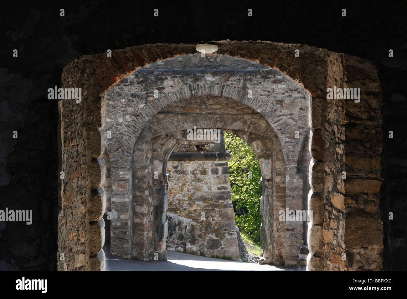 Castle gates, castle ruins Landskron near Villach, Carinthia, Austria, Europe Stock Photo