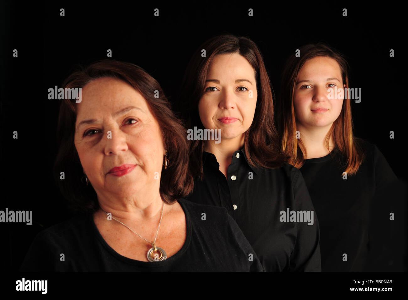 Three 3 generations of hispanic women - Stock Image