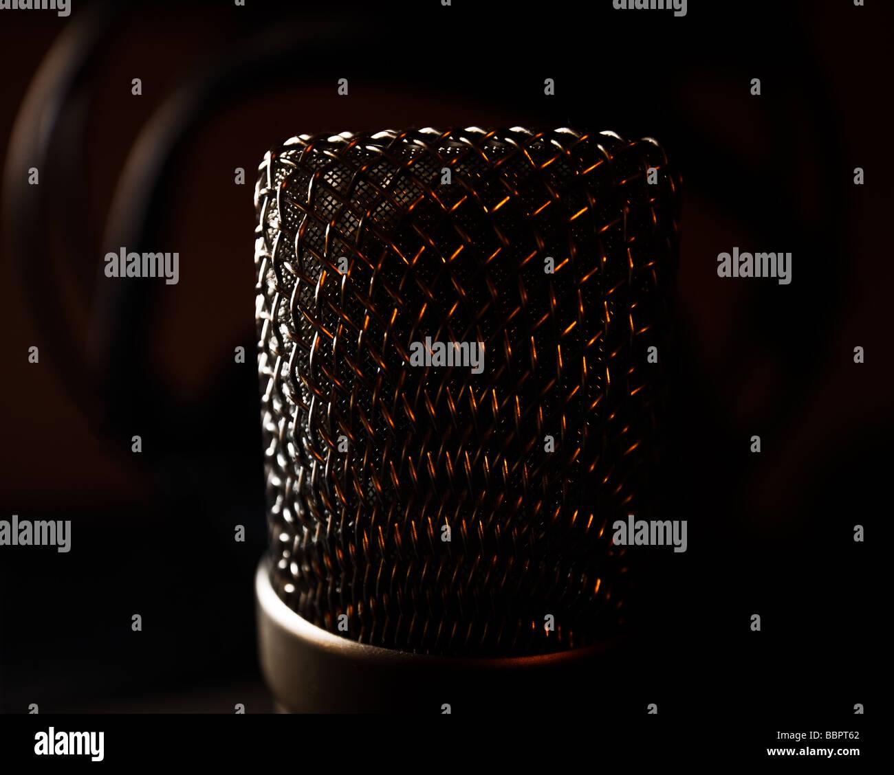 Broadcast Darkened Microphone Technology Chrome Studio Radio Quiet - Stock Image
