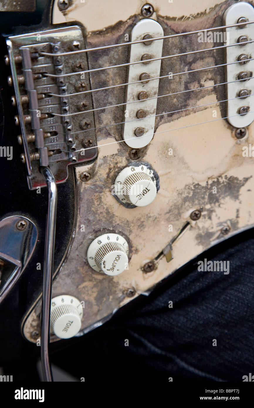 Electric Fender Guitar of a Street Busker Entertainer Stock