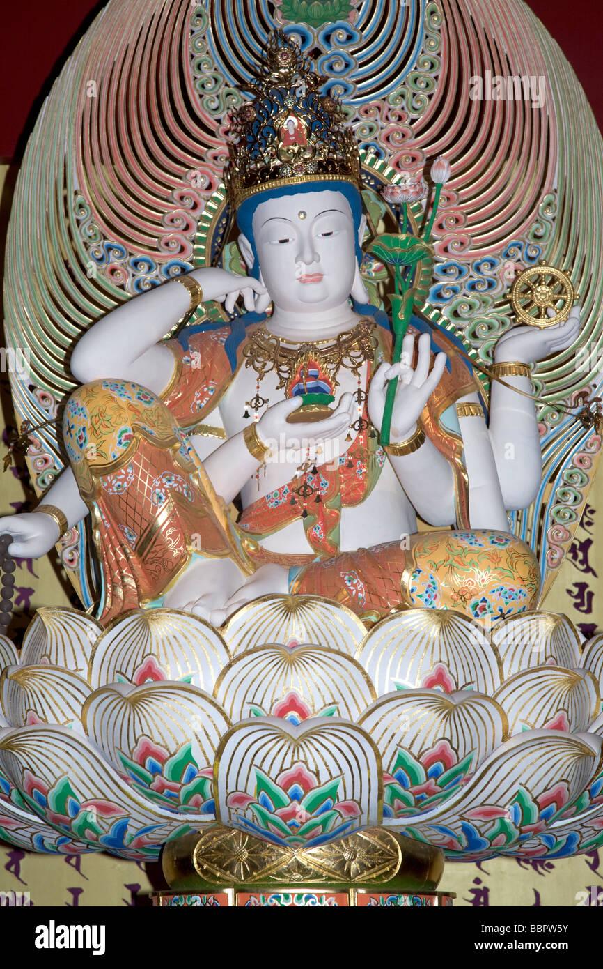 Statue Of Buddha Sitting On Lotus Flower Singapore Stock Photo